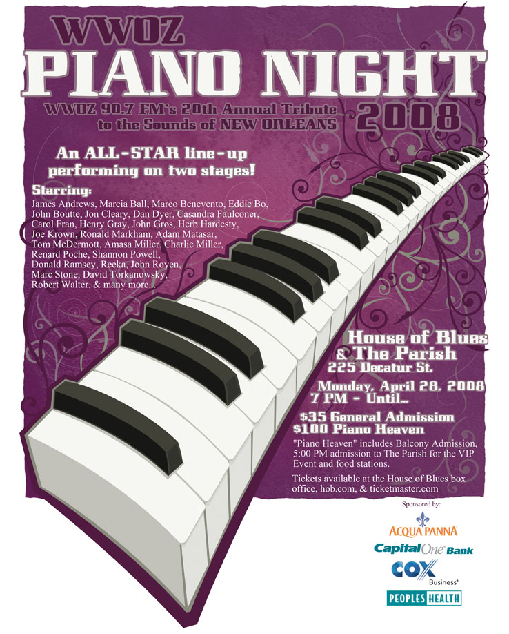 WWOZ Piano Night 2008 Ad