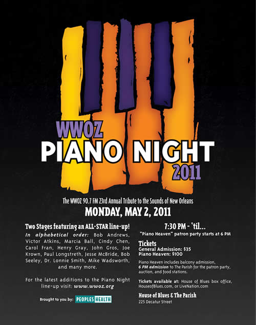 WWOZ Piano Night 2011 Advertisement & T-Shirt