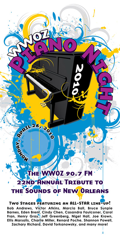 WWOZ Piano Night 2010 Poster
