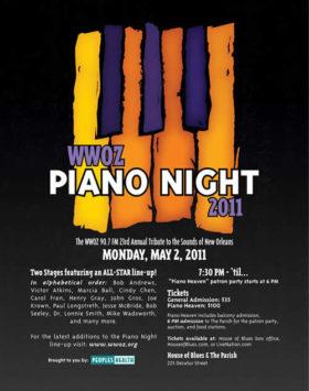 WWOZ Piano Night 2011 Advertisement & T-Shirt